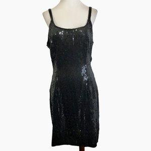 Vtg Styleworkes Black Sequin Silk Cocktail Dress
